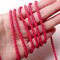 3mm Braid Leather Cord / Soft Round Strip / Fake Leather Strap / Leather Like String (3mm / 2 Meters / Dark Pink) Bracelet Necklace F245