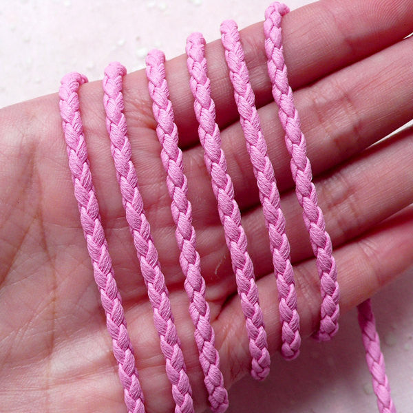 3mm Braided Leather Cord / Soft Round Strip / Faux Leather String / PU Leather Strap (3mm / 2 Meters / Pink) Necklace Bracelet Findings F249