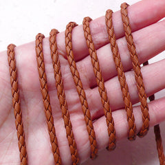 3mm Braided Leather Strap / Soft Round String / Faux Leather Strip / Leather Like Cord (3mm / 2 Meters / Brown) DIY Necklace Bracelet F247