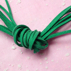 Suede Cord / Faux Leather Strips / Leather Straps / Leather String / Suede Leather Cord (3mm / 2 Meters / Green) Necklace Bracelet F083