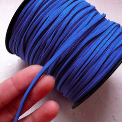 Faux Leather Strap / Leather Strip / Leather String / Suede Leather Cord / Suede Cord (3mm / 2 Meters / Blue) DIY Necklace Bracelet A014