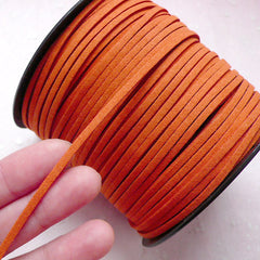 Suede Leather Cord / Leather Straps / Faux Leather Strip / Leather String Cord / Suede Cord (3mm / 2 Meters / Orange) Necklace Bracelet A006