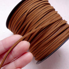 Faux Leather Strip / Leather Strap / Leather Strings / Suede Leather Cord / Suede Cord (3mm / 2 Meters / Light Brown) Necklace Bracelet A008