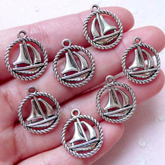 Sail Boat / Sailing Yacht Charms (7pcs / 16mm x 19mm / Tibetan Silver / 2 Sided) Nautical Jewellery Necklace Bracelet Zipper Pull CHM1509