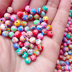 Polymer Clay Beads Mix / Assorted Flower Beads (6mm / Round / Floral / 25pcs by Random) Jewelry Earrings Bracelet Keychain Charm Making F106