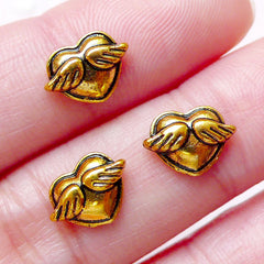 Winged Heart Floating Charms / Tiny Heart with Wing Cabochons (3pcs / 10mm x 7mm / Antique Gold) Nail Art Nail Deco Embellishment NAC249