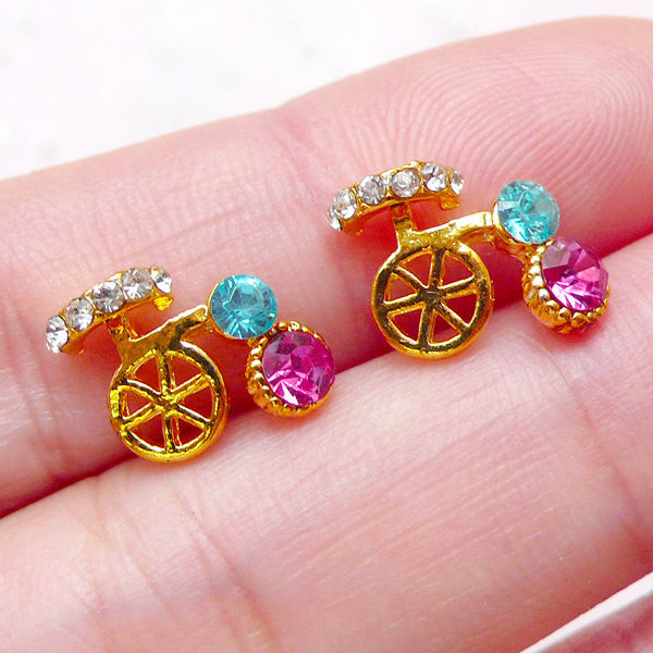 Bicycle Floating Charms / Mini Bike Cabochons with Colorful Rhinestones (2pcs / 12mm x 9mm / Gold) Nail Art Nail Decoration Scrapbook NAC257