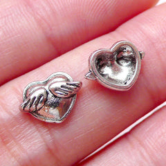 Heart with Wing Floating Charms / Mini Winged Heart Cabochons (3pcs / 10mm x 7mm / Tibetan Silver) Nail Art Nail Decoration Scrapbook NAC250