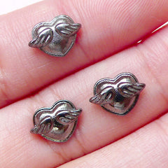 Tiny Winged Heart Floating Charms / Mini Heart with Wing Cabochons (3pcs / 10mm x 7mm / Black Silver) Nail Art Nail Deco Scrapbooking NAC251