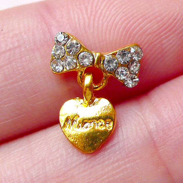 Dangling Nail Art / Tiny Bow with Heart Cabochon (1 piece / 10mm x 12mm / Gold with Clear Rhinestones) Nail Art Nail Deco Scrapbook NAC263