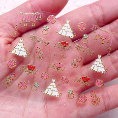 Wedding Nail Sticker (Bridal Gown Dress, Rose, Diamond Ring / Gold) Nail Art Nail Decoration Embellishment Diary Deco DIY Card Manicure S253
