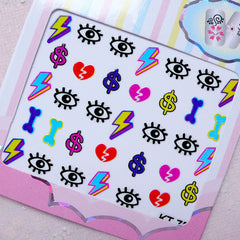 Funky Nail Sticker (Evil Eye, Lightning, Broken Heart, Bone, Dollar Sign) Nail Art Nail Deco Manicure Diary Decoration Card Making S258