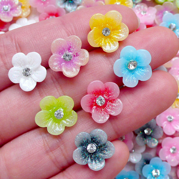 Flower Cabochon with Clear Rhinestones and Glitter (5pcs by Random / 11mm / Flat Back) Sakura Plum Decoden Floral Embellishment CAB379