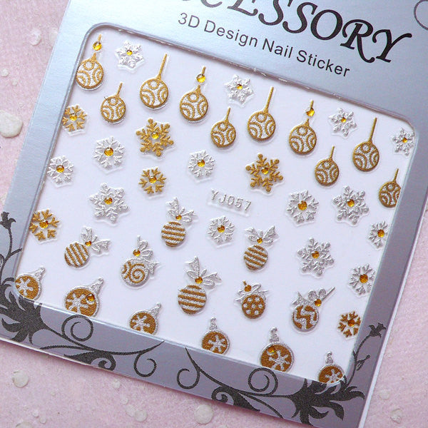 Christmas Nail Art Sticker (Snowflake, Christmas Ornament) Nail Deco Diary Decoration Manicure Scrapbooking Embellishment Home Decor S264