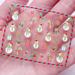 Christmas Nail Sticker (Candy Stick, Gift Box, Ornament, Snowflakes, Snowman) Nail Art Decoration Diary Deco Manicure Embellishment S265