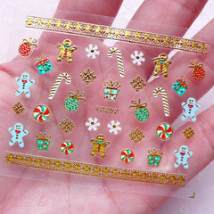 Christmas Nail Sticker (Candy Stick, Gift Box, Ornament, Gingerbread Man, Snowflakes, Peppermint) Nail Art Nail Decoration Manicure S261