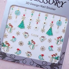 Christmas Nail Art Sticker (Christmas Tree, Snowflakes, Christmas Ornament, Snowman) Nail Deco Diary Decoration Card Making Manicure S262