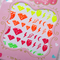 Neon Color Nail Sticker (Owl, Diamond, Lightning) Nail Art Nail Decoration Manicure Card Making Scrapbooking Embellishment Home Decor S269