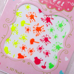 Neon Paint Splash Nail Sticker / Whimsical Nail Art / Kitsch Nail Deco / Diary Decoration Manicure Scrapbook Embellishment Home Decor S272