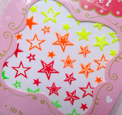 Neon Star Nail Sticker / Kitsch Nail Art / Funky Nail Deco / Kawaii Diary Decoration Card Making Scrapbook Embellishment Manicure S270