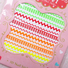 Neon Zigzag Nail Sticker / Zig Zag Nail Art / Funky Nail Decoration / Diary Deco DIY Card Manicure Scrapbook Embellishment Home Decor S271