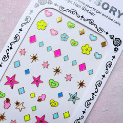Colorful Nail Sticker (Star, Heart, Flower, Diamond) Color Nail Art Cute Nail Deco Diary Decoration Manicure Embellishment Scrapbooking S279