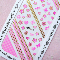 Cute Nail Sticker (Star Heart Flower Square Houndstooth / Gold & Pink) Kawaii Nail Art Nail Deco Diary Decoration Manicure Scrapbooking S282