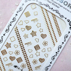 Gold Nail Sticker (Star Heart Flower Square Houndstooth) Wedding Nail Art Bridal Nail Deco Diary Decoration Manicure Embellishment S280
