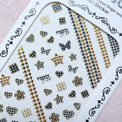 Houndstooth Nail Sticker (Star Heart Flower Square / Gold & Black) Nail Art Nail Decoration Diary Deco Manicure Embellishment Scrapbook S281