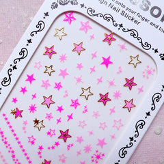 Star Nail Sticker (Gold & Pink) Cute Nail Art Kawaii Nail Decoration Diary Deco Manicure Scrapbooking Embellishment Card Making Collage S283