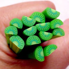 Kiwi Polymer Clay Cane Minature Fruit Fimo Cane (Cane or Slices) Kawaii Nail Art Nail Deco Dollhouse Food Cute Embellishment Scrapbook CF043