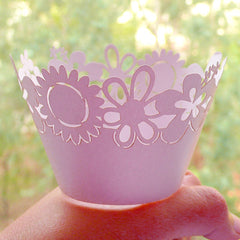 Cute Flower Cupcake Wrappers / Laser Cut Floral Cupcake Wrapper (Light Purple / 6pcs) Baby Shower Cake Decoration Wedding Cupcake Deco CUP33