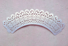 Filigree Cupcake Wrappers / Laser Cut Lace Cupcake Wrapper (White / 6pcs) Cake Decoration Cupcake Packaging Wedding Party Cupcake Deco CUP35