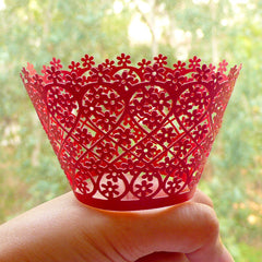 Flower Lace Cupcake Wrappers / Laser Cut Filigree Cupcake Wrapper (Red / 6pcs) Cake Deco Cupcake Decoration Packaging Wedding Party CUP30
