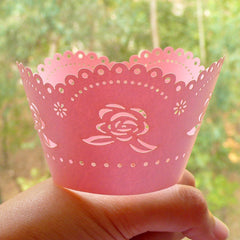 Pink Rose Cupcake Wrappers / Laser Cut Floral Cupcake Wrapper (Pink / 6pcs) Baby Shower Cake Deco Wedding Party Cupcake Decoration CUP32