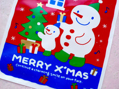 CLEARANCE Christmas Gift Bags w/ Cute Snowman & Christmas Tree Drawing (20pcs / Red and Blue) Gift Packaging Product Wrapping (17.3cm x 25.2cm) GB127