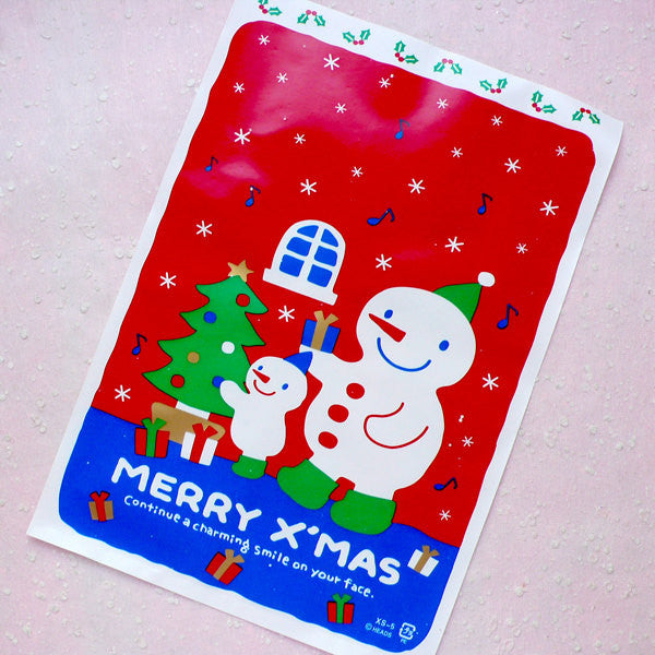 Christmas Gift Bags w/ Cute Snowman & Christmas Tree Drawing (20pcs / Red and Blue) Gift Packaging Product Wrapping (17.3cm x 25.2cm) GB127
