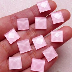 Facet Cut Square Cabochons (20pcs / Pink / 10mm / Flat Back) Flatback Glass Gem Scrapbooking Phone Case Deco Decoden Earrings Making CAB381