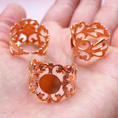 Adjustable Filigree Ring Blank Findings with 8mm Glue On Pad (5 pcs / Rose Gold) Adjust Ring Base Jewellery Making Jewelry Findings F267