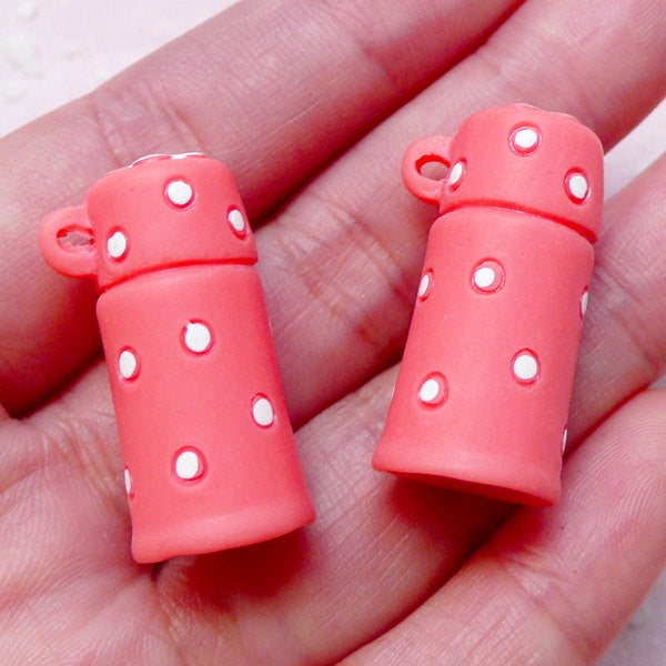 Miniature Thermos Cabochons Charm (2pcs / Light Red & White Polka Dot / 15mm x 28mm) Kawaii Cell Phone Deco Decoden Kitsch Jewelry CAB385