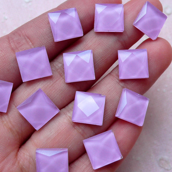 Facet Square Cabochons (20pcs / Purple / 10mm / Flat Back) Flatback Glass Rivet Scrapbooking Kawaii Cell Phone Deco Jewelry Making CAB384