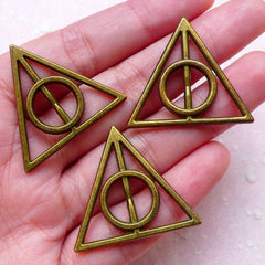 Bronze Deathly Hallows Charm Connector (3pcs / 32mm x 29mm / Antique Bronze / 2 Sided) Necklace Link Dark Wizard Keyring Bookmark CHM1523