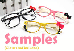Cute Bow & Whiskers Cabochons (1 Set / Pink, Black) Sun Glasses Eyeglasses Nerd Glasses Decoration Kawaii Decora Decoden Phone Case CAB389