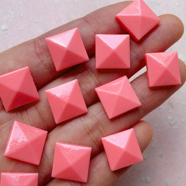 Facet Square Pyramid Cabochons (10pcs / Pink / 12mm / Flatback) Flat Back Resin Stud Embellishment Cute Phone Case Deco Decoden CAB394