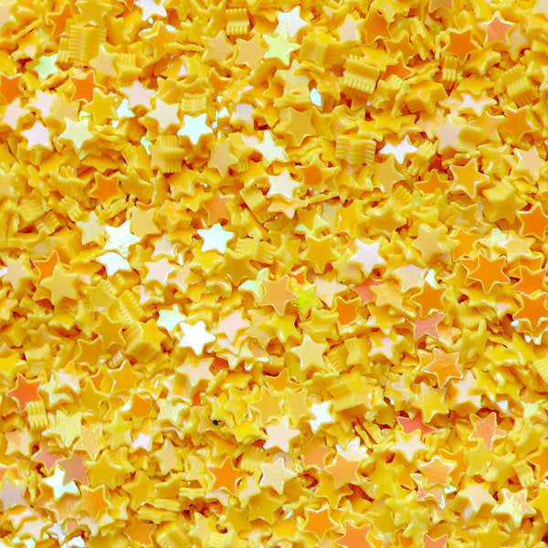 Star Confetti / Star Sequin / Star Sprinkles / Star Glitter / Fake Toppings / Micro Star (AB Yellow / 3mm / 3g) Scrapbooking Nail Art SPK38