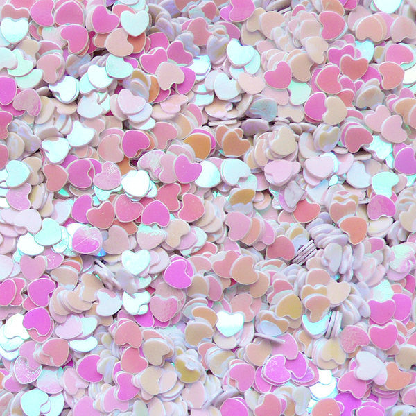 Sequin Confetti Heart Glitter Heart Sprinkles Heart Confetti Heart Sequin Fake Toppings Micro Heart (AB White / 3mm / 3g) Resin Craft SPK51