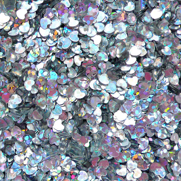 Heart Confetti / Heart Sequin / Micro Heart / Fake Toppings / Heart Glitter / Heart Sprinkles (AB Silver / 3mm / 3g) Nail Decoration SPK55