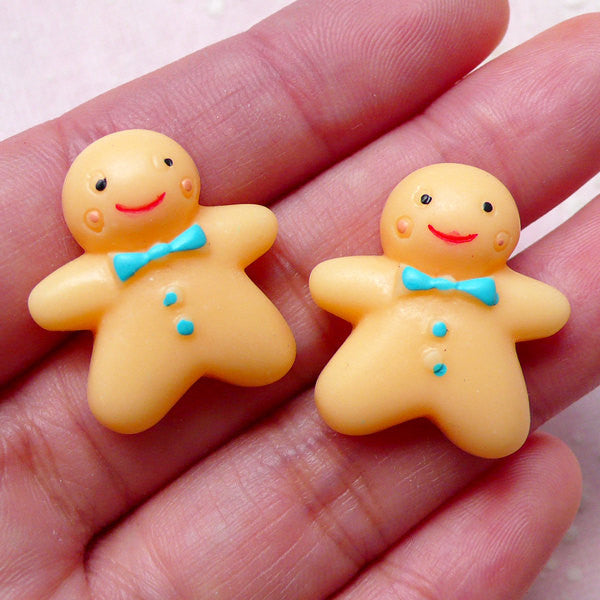 Gingerbread Man Cabochons (2pcs / 22mm x 24mm / Flat Back) Miniature Sweets Decoden Cell Phone Deco Cute Scrapbooking Embellishment FCAB295