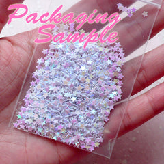 Fake Hollow Star Topping / Star Glitter / Star Sprinkle / Star Confetti / Star Sequin / Micro Star (AB Pink / 3.5mm / 3g) Glitter Root SPK70