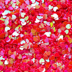 Fake Heart Toppings / Heart Glitter / Heart Sprinkles / Heart Confetti / Heart Sequin / Micro Heart (AB Red / 3mm / 3g) Resin Jewelry SPK52